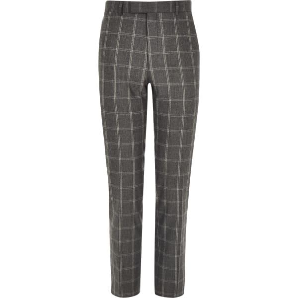 River Island - pantalon skinny habillé à carreaux gris - 5