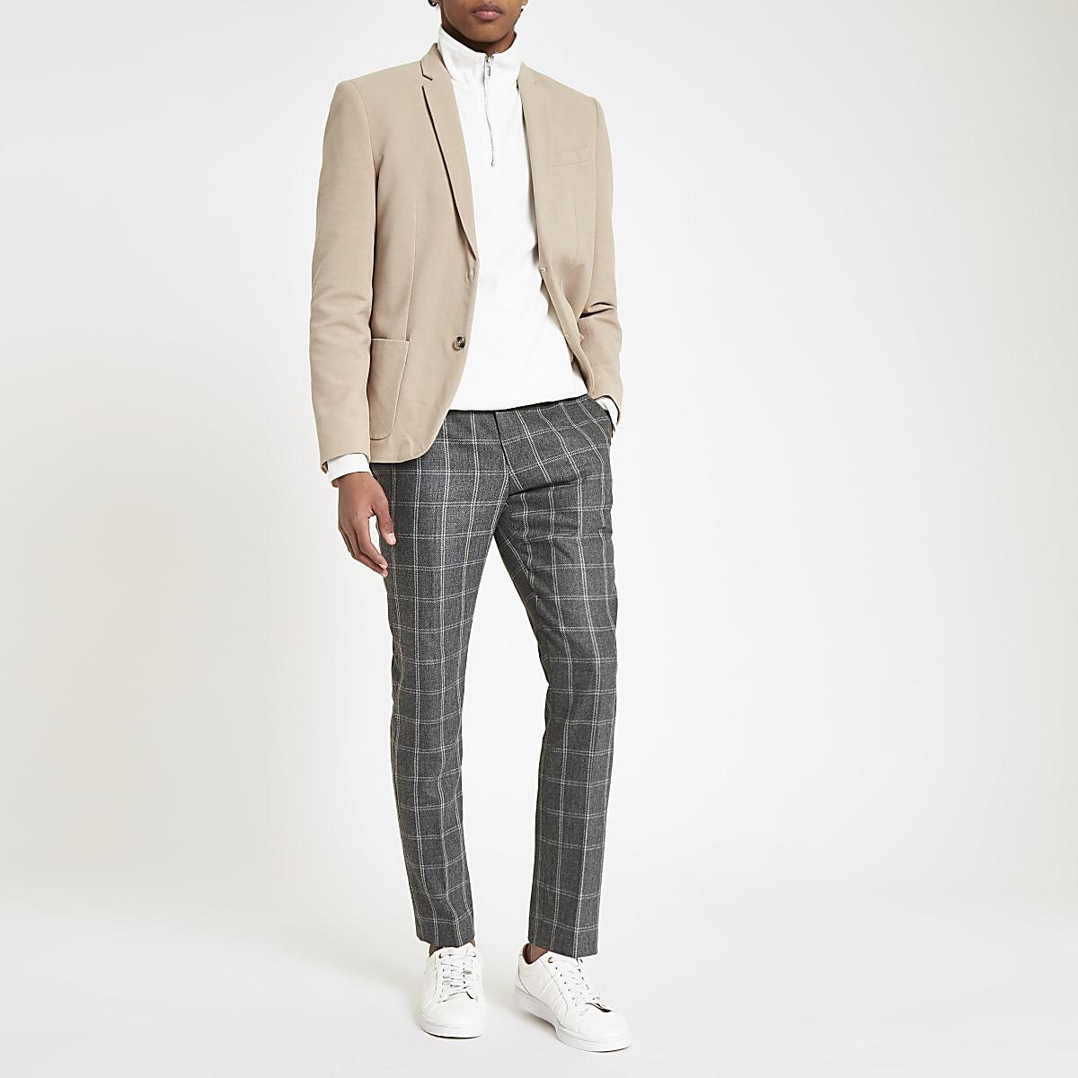 7fd92ebbc1b Dark grey check skinny fit smart trousers - Smart Trousers - Trousers - men