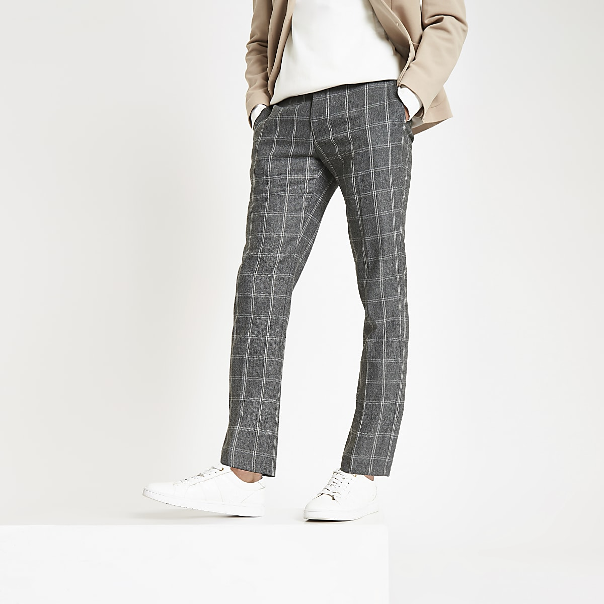 Dark grey check skinny fit smart trousers