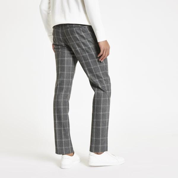 River Island - pantalon skinny habillé à carreaux gris - 2