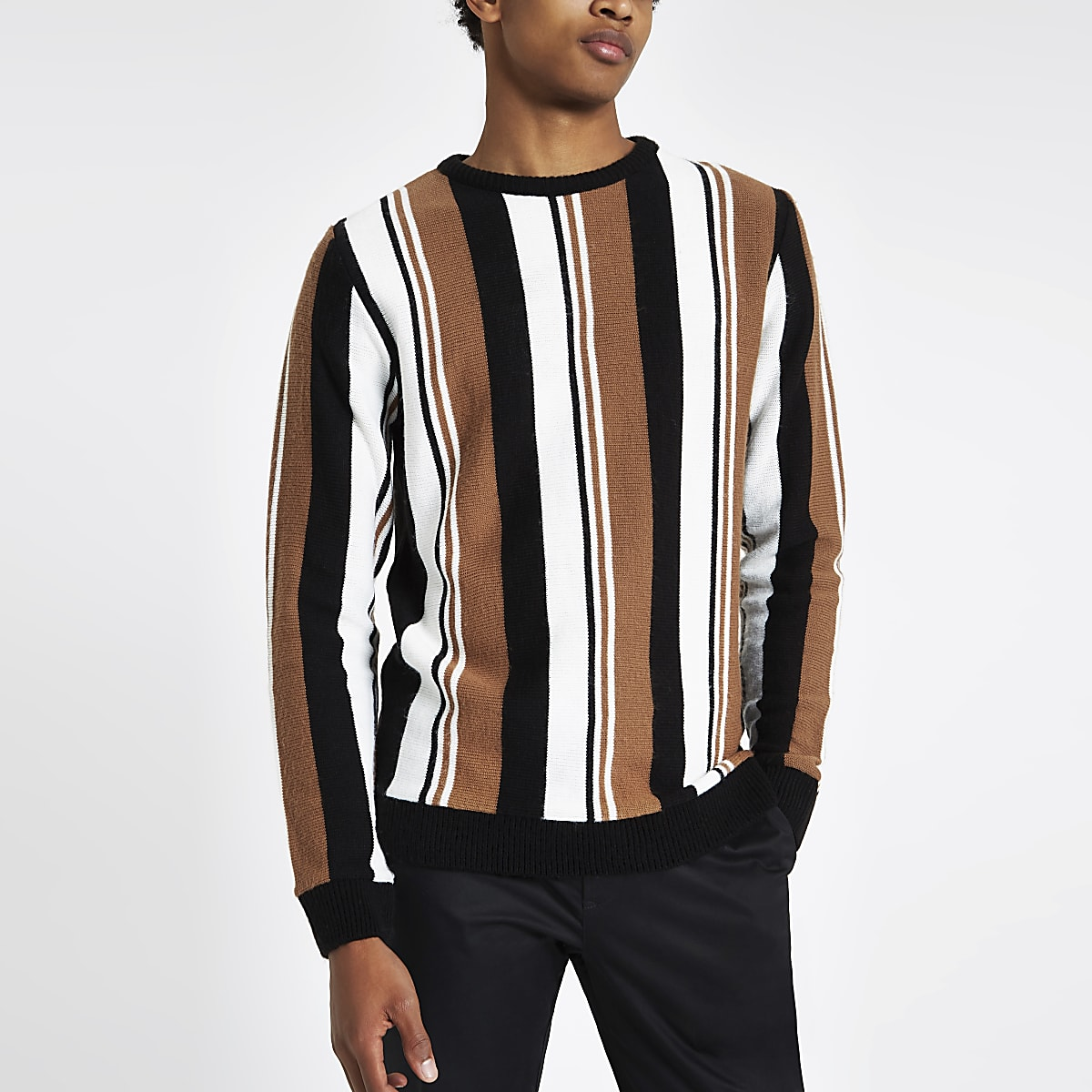 Light brown knit stripe slim fit jumper