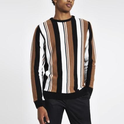 Light brown knit stripe slim fit jumper