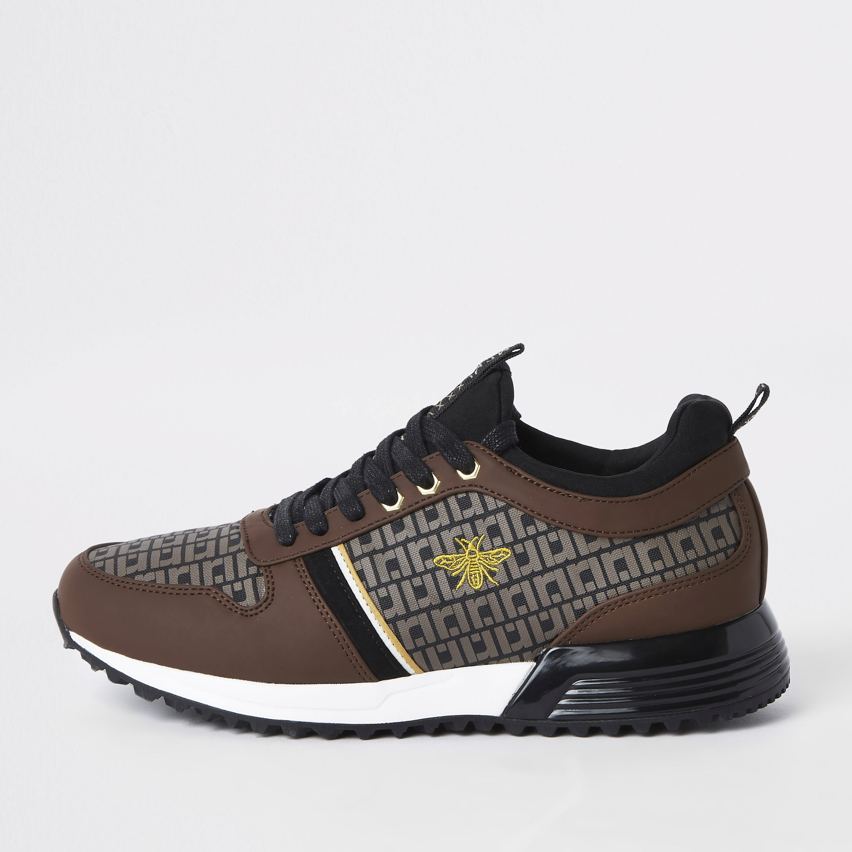 RIVER ISLAND   Mens Brown monogram 'MCMLXXVI' lace-up trainers   Goxip