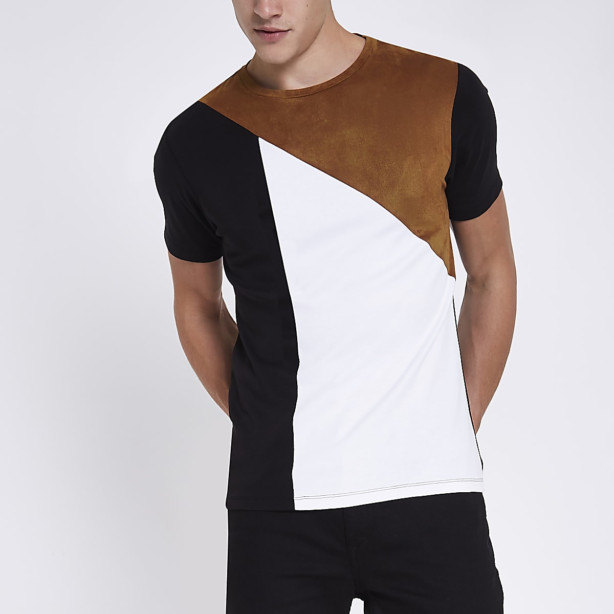 Light brown asymmetric colour block T-shirt