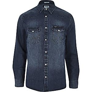 Wrangler – Blaues Western-Jeanshemd