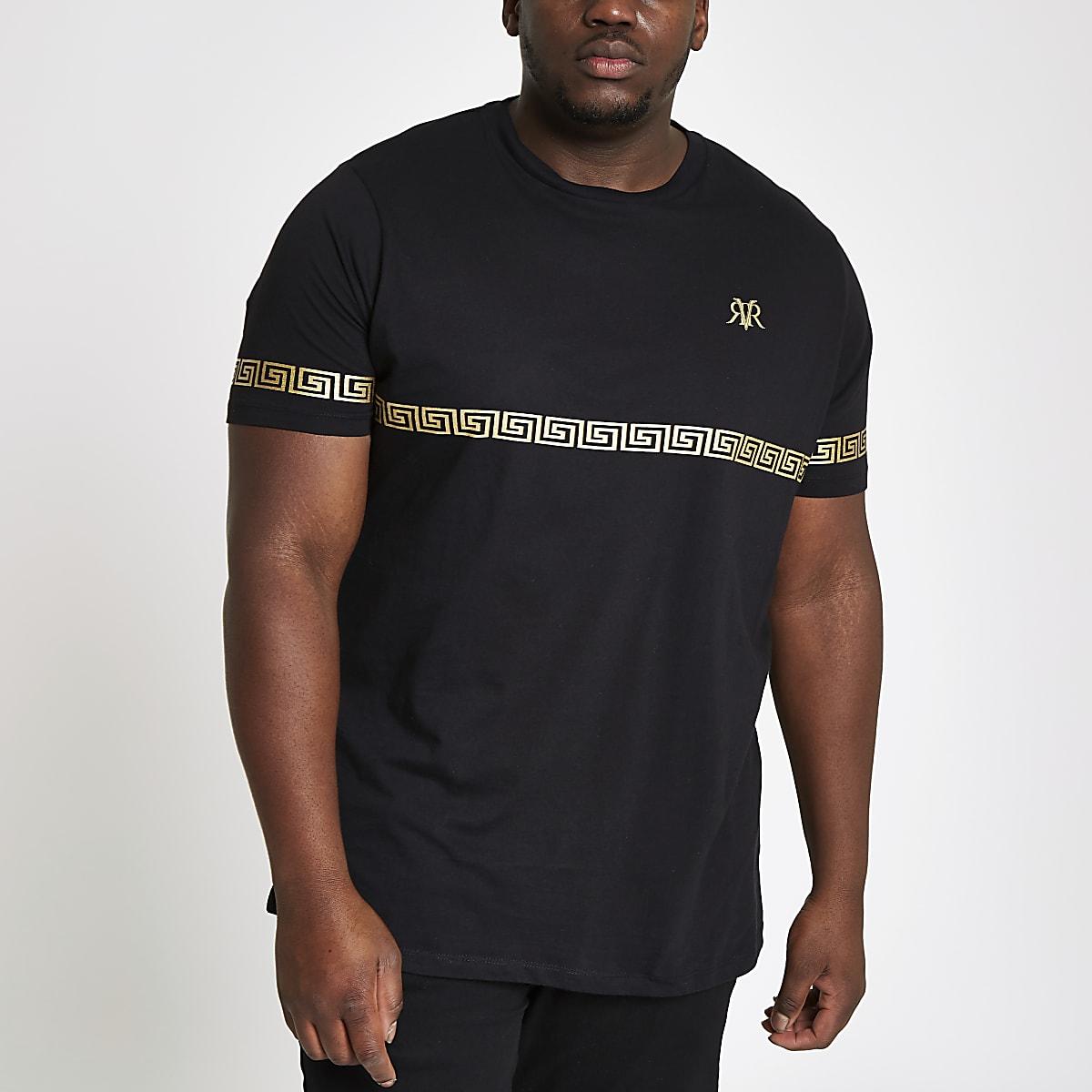 Big and Tall black gold foil slim fit T-shirt