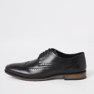 Richelieus à lacets en cuir noir