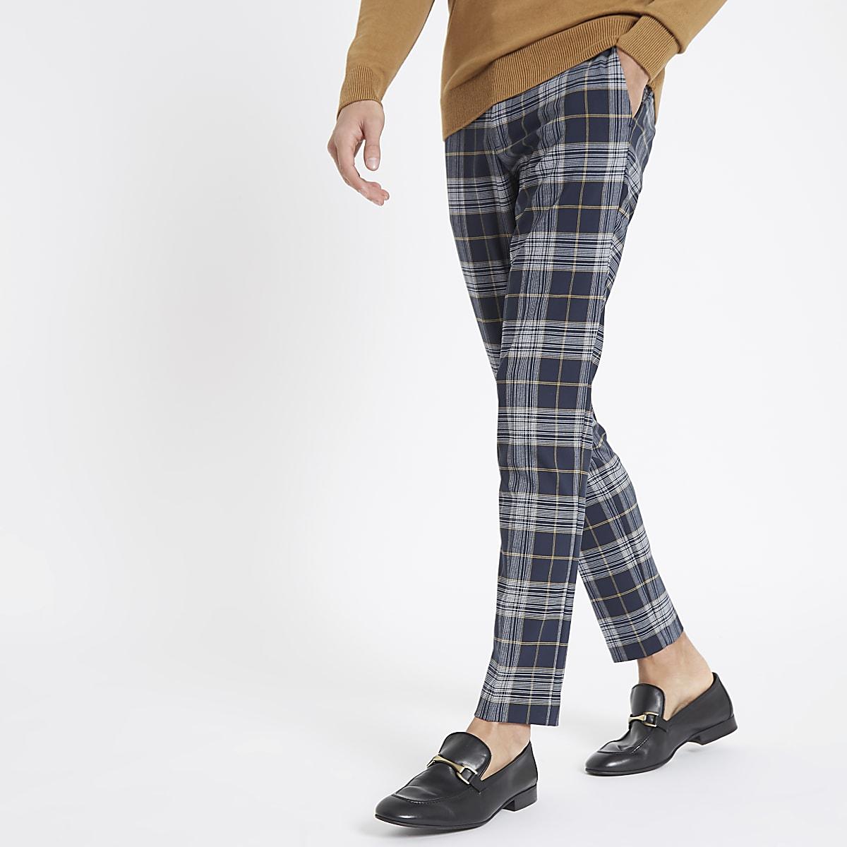 Navy check skinny smart pants