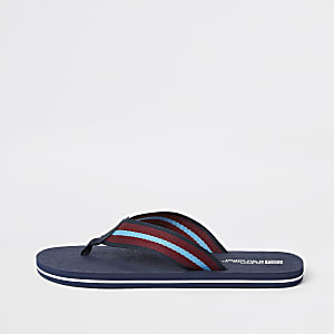 Marineblaue, gestreifte Flip Flops