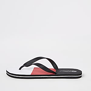 Red colour block flip flops