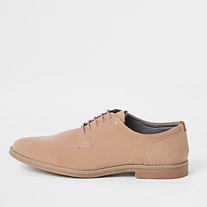 Pink textured lace-up smart shoes