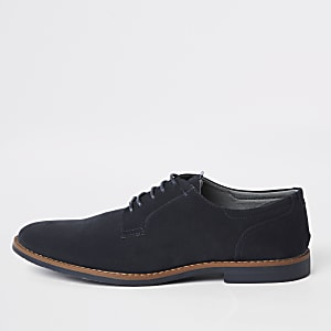 Navy tumbled lace-up derby shoes