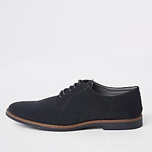 Chaussures derby imitation daim bleu marine à lacets