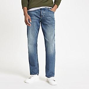 Dean - Donkerblauwe jeans met rechte pijpen