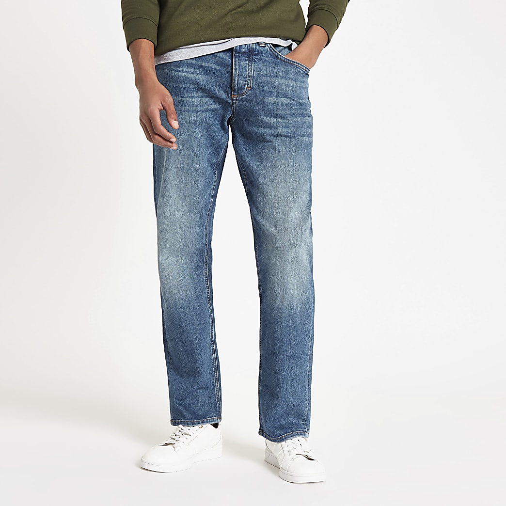 Dark blue Dean straight leg jeans