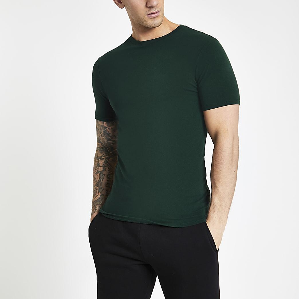 Groen aansluitend T-shirt met ronde hals