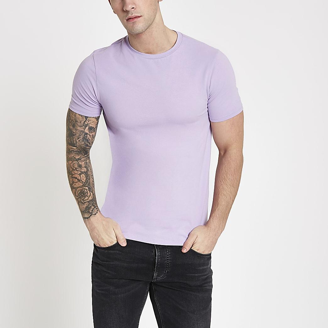 Paars aansluitend T-shirt met ronde hals