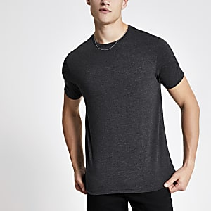 Dark grey marl slim fit crew neck T-shirt