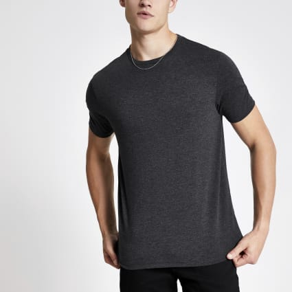 Dark grey marl slim fit crew neck T-shirt