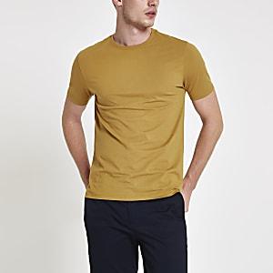 T-shirt slim jaune à col ras-du-cou