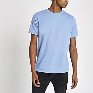 Blauw gemêleerd slim-fit T-shirt met ronde hals