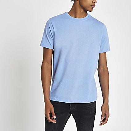 Blue marl slim fit crew neck T-shirt