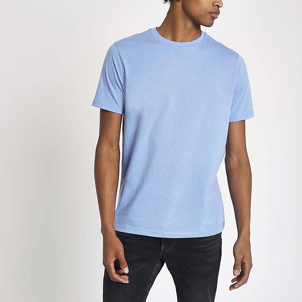 T-shirt ras-du-cou slim bleu chiné