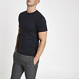 Navy ribbed muscle fit embroidered T-shirt