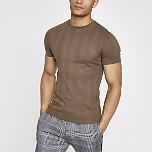 Light brown muscle fit embroidered T-shirt