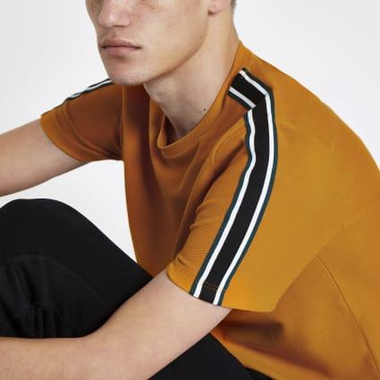 Dark yellow slim fit tape side T-shirt