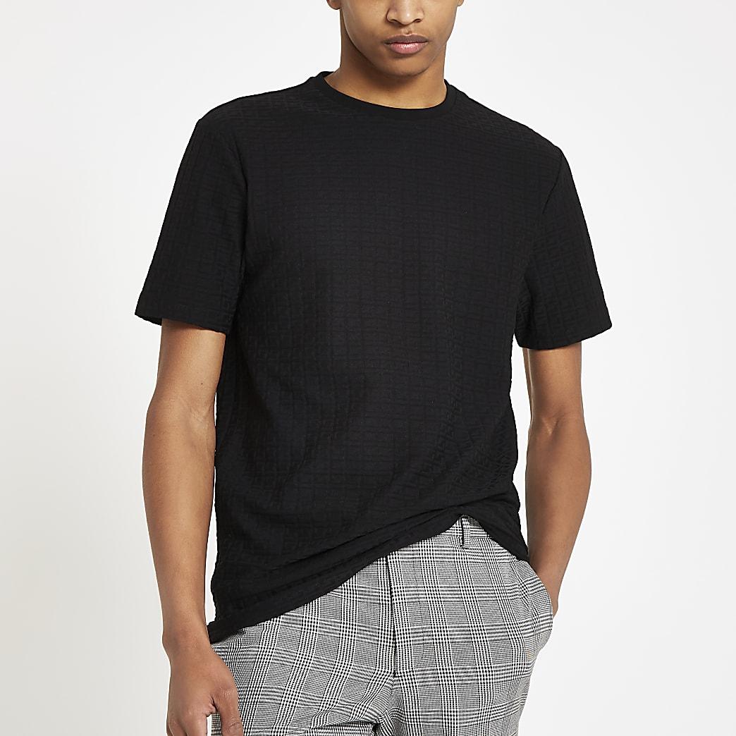 Zwart jacquard T-shirt met RI-logo