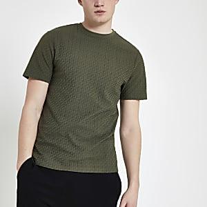 Kaki jacquard slim-fit T-shirt