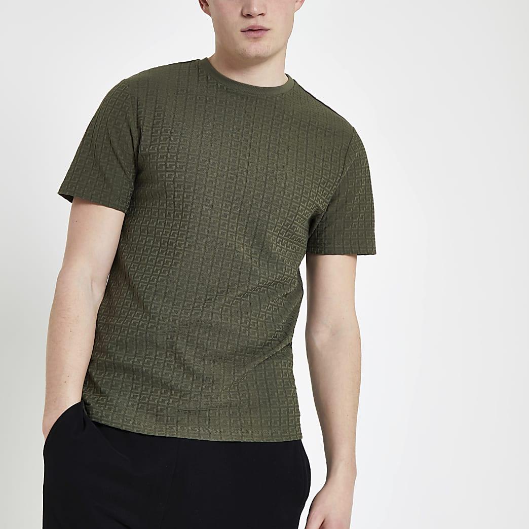 Khaki jacquard slim fit T-shirt
