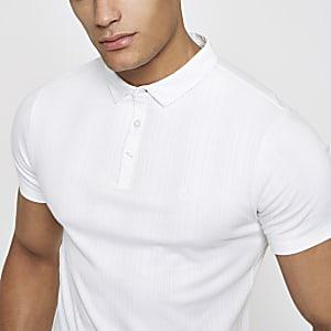 Polo côtelé blanc coupe près du corps
