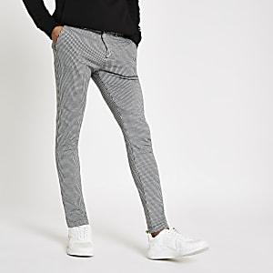 Graue, elastische Super Skinny Hose mit Hahnentritt-Muster