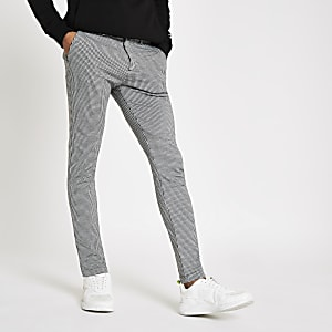 Grey houndstooth stretch super skinny pants