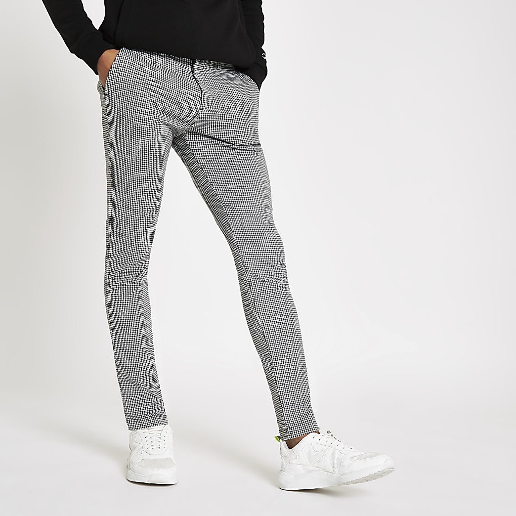 Grey dogtooth stretch super skinny trousers