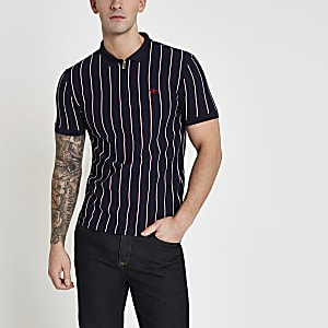 Navy stripe zip slim fit polo shirt