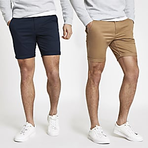 Lot de 2 shorts chino skinny bleu marine et marron