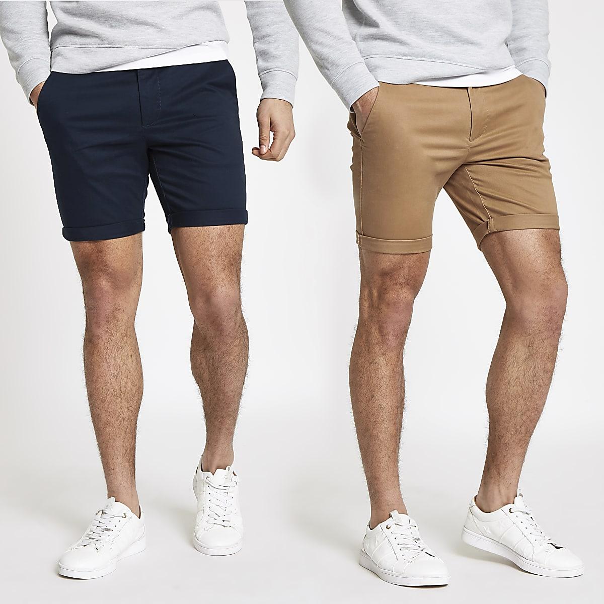Set van 2 bruine en marineblauwe skinny chino shorts