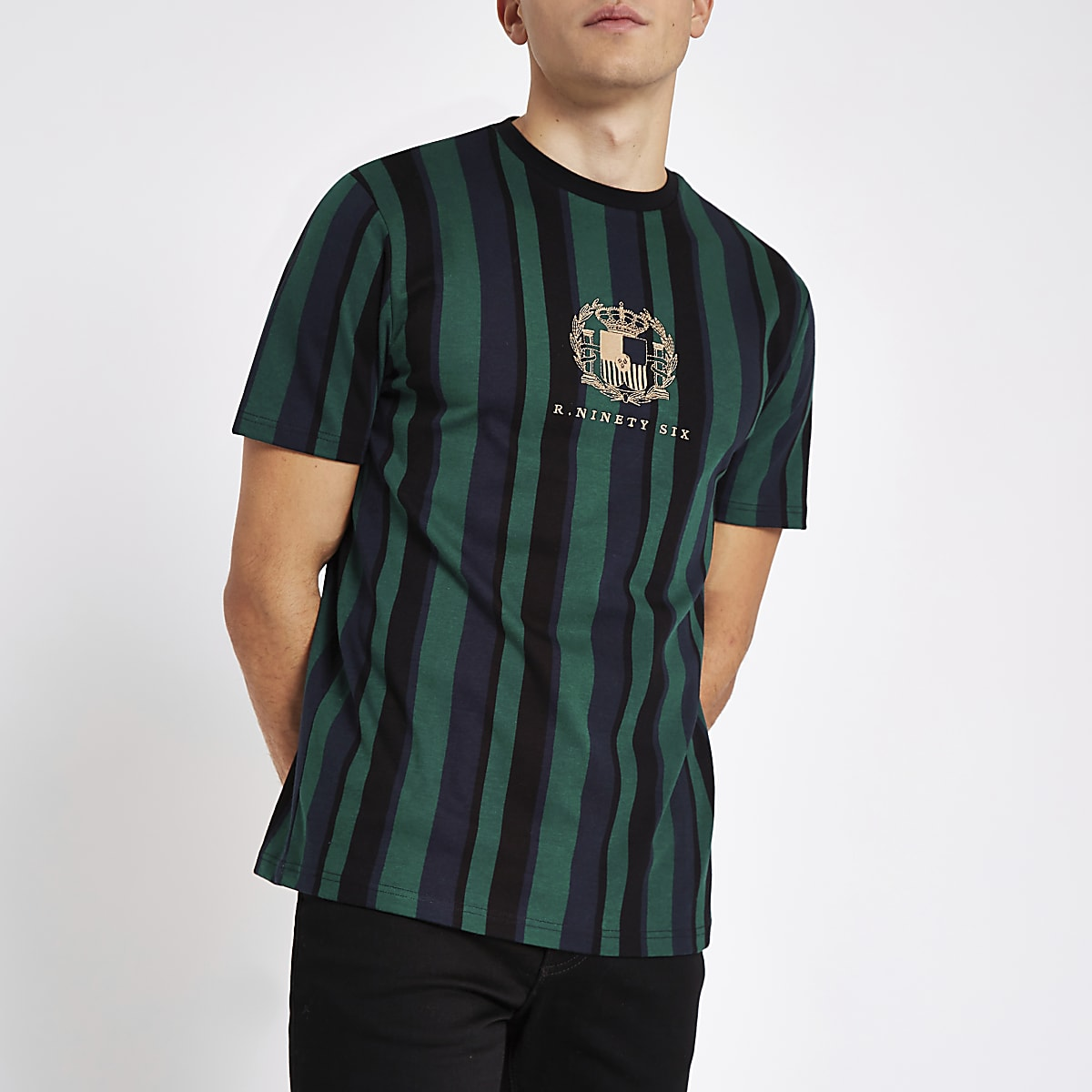 R96 green stripe slim fit T-shirt