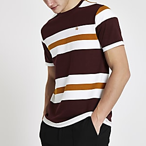T-shirt slim « R96 » rayé bordeaux