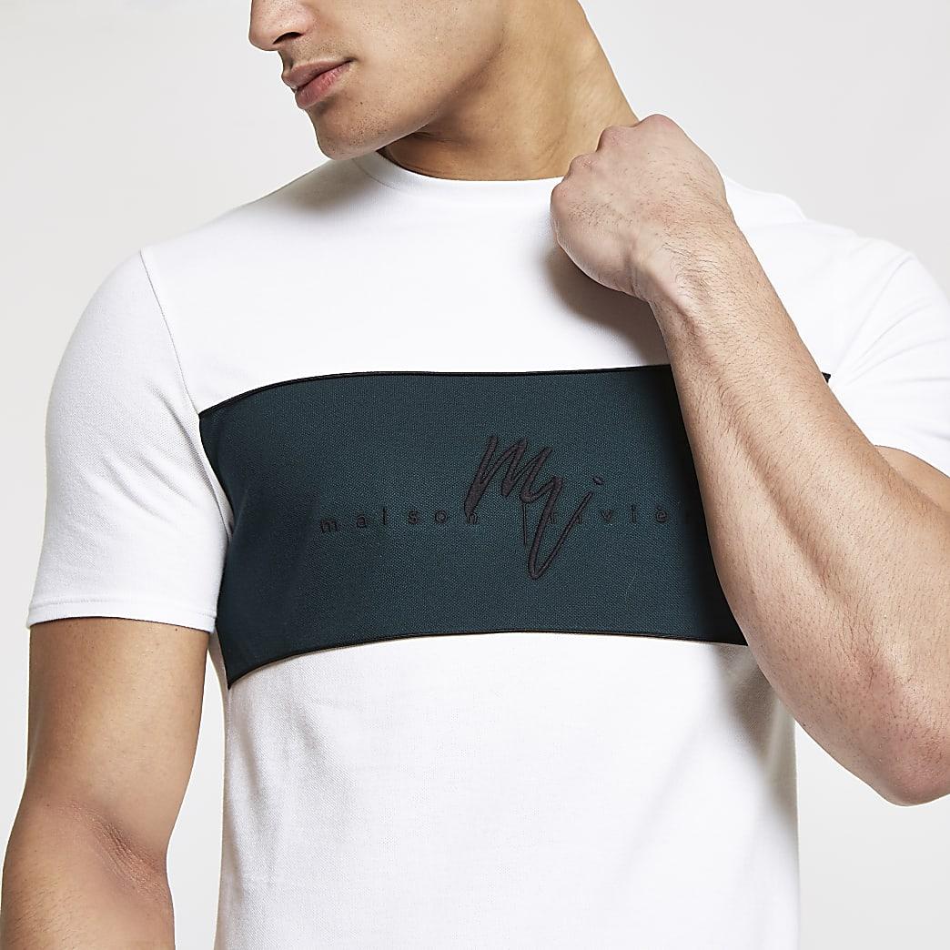 White Maison Riviera muscle fit T-shirt