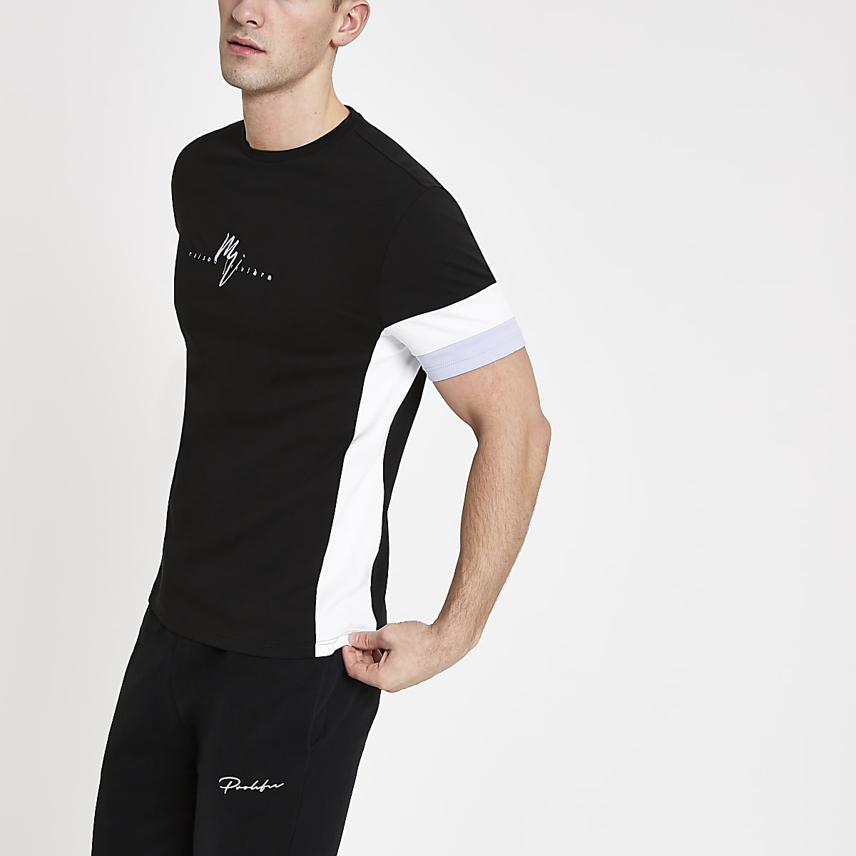 Black slim fit 'Maison Riviera' T-shirt