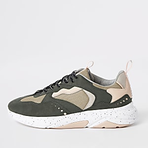 Khaki green camo 'MCMLXXVI' lace-up trainers