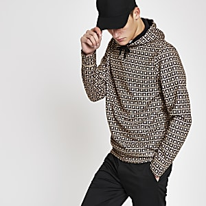 Brown RI monogram slim fit hoodie
