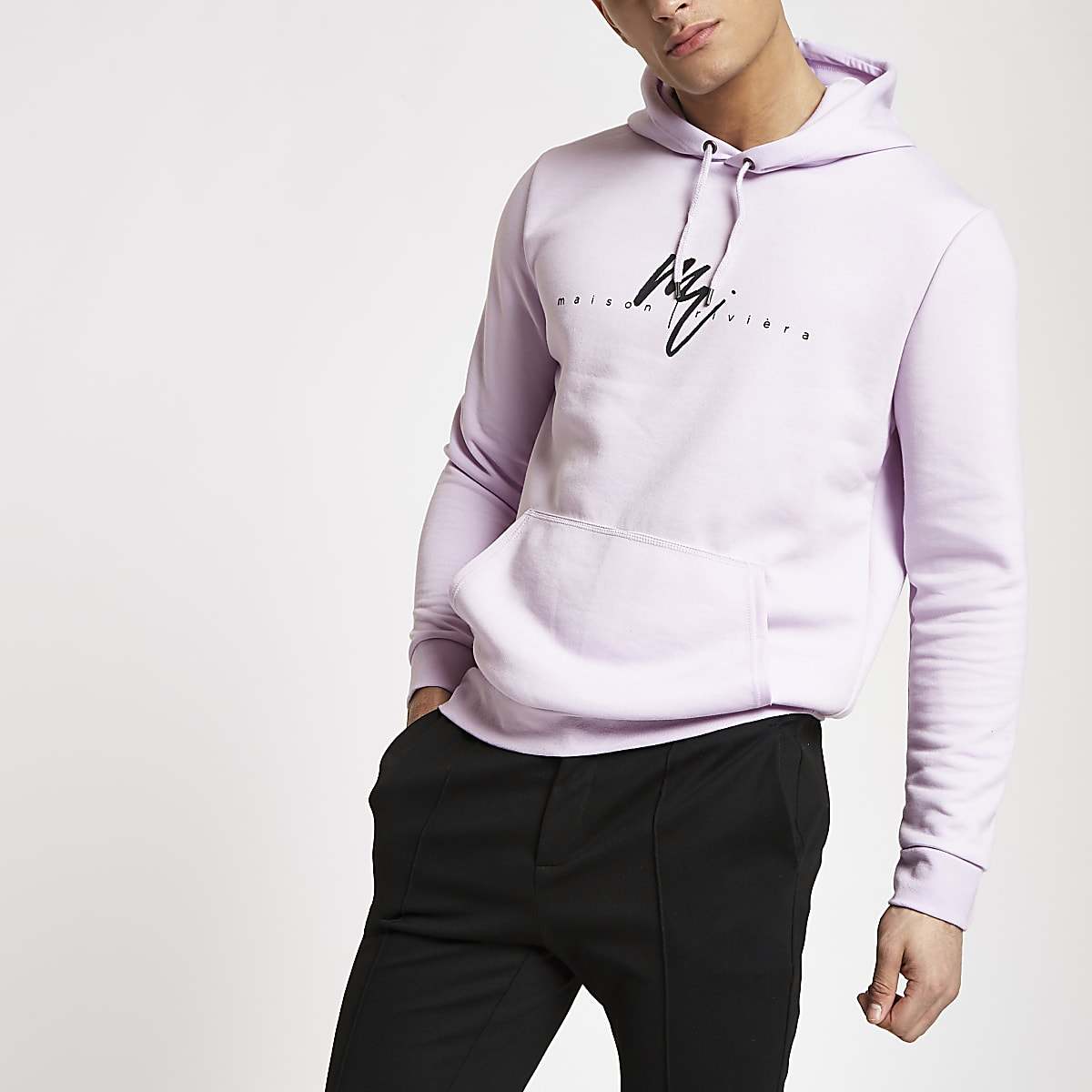 Light purple slim fit 'Maison Riviera' hoodie
