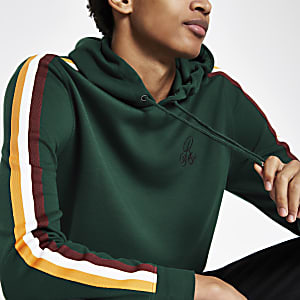 R96 green slim fit tape hoodie