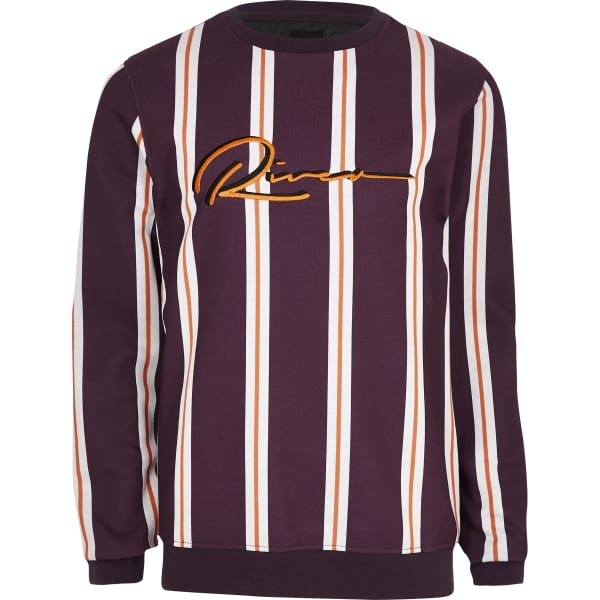 River Island - sweat slim rayé rouge - 5
