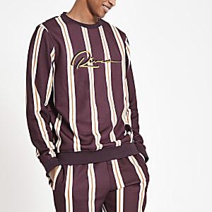 Dunkelrot gestreiftes Slim Fit Sweatshirt